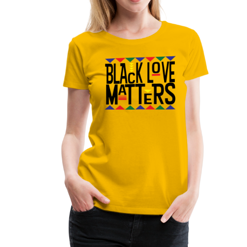 Women's BHM Black Love Matters Yellow FLS T-Shirt - Women's Premium T-Shirt