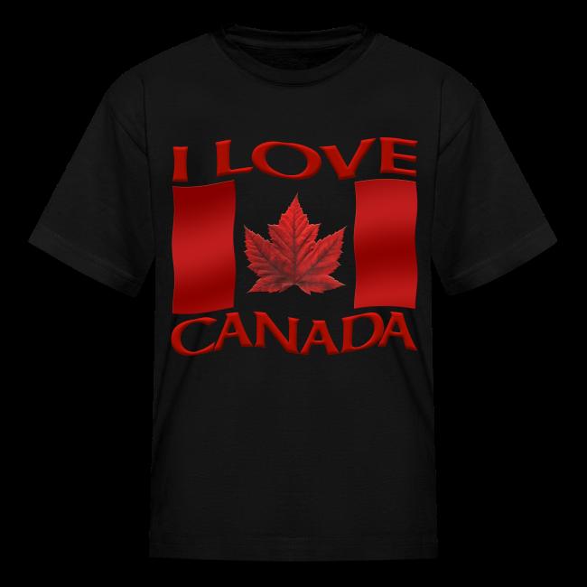 Kid's I Love Canada T-shirt Kid's Canada Souvenir Shirts