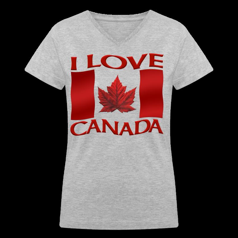 I Love Canada Shirt Women's Shirt Canada Shirt - Women's V-Neck T-Shirt