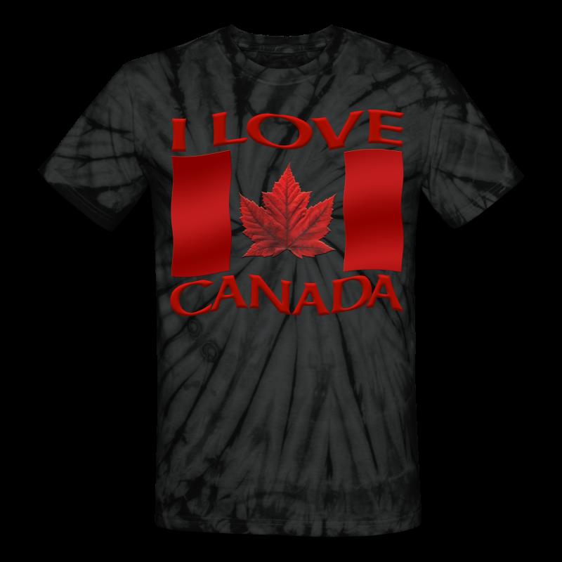I Love Canada Shirt Women's Shirt Canada Shirt - Unisex Tie Dye T-Shirt