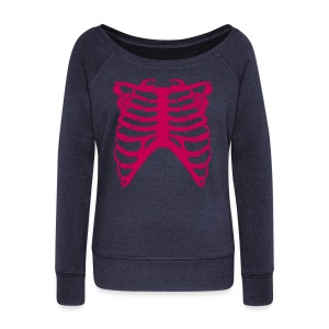 Wideneck Magenta Skeleton Sweatshirt - Women's Wideneck Sweatshirt