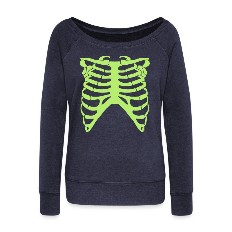 Wideneck Light Green Skeleton Sweatshirt - Women's Wideneck Sweatshirt