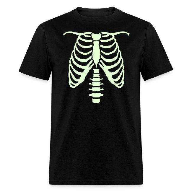 mens glow ribcage skeleton tee