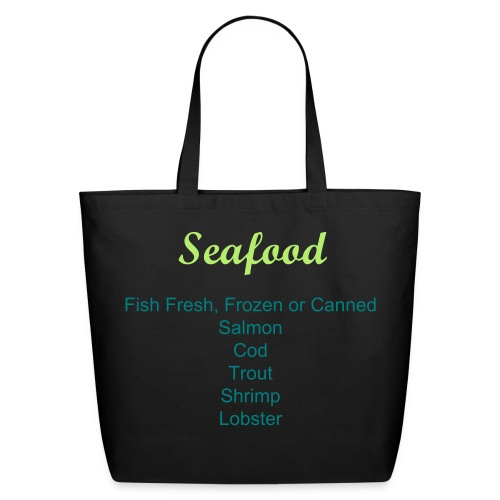 Labeled Seafood Grocery Shopping Bag - Eco-Friendly Cotton Tote