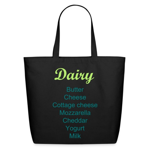 Labeled Dairy Grocery Shopping Bag - Eco-Friendly Cotton Tote