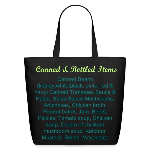 Labeled Canned and Bottled Items Grocery Shopping Bag - Eco-Friendly Cotton Tote