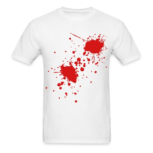 BLOOD SPLATTER on White T-Shirt - Men's T-Shirt