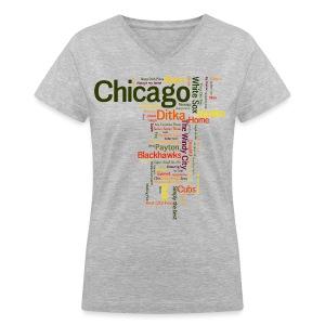 Chicago Words - Women's V-Neck T-Shirt