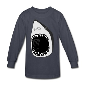 animal t-shirt white shark jaws fish fishing diver scuba diving sharks - Kids' Long Sleeve T-Shirt