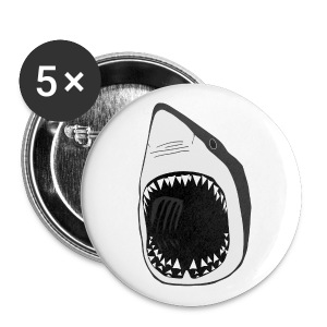 animal button t-shirt white shark jaws fish fishing diver scuba diving sharks - Large Buttons