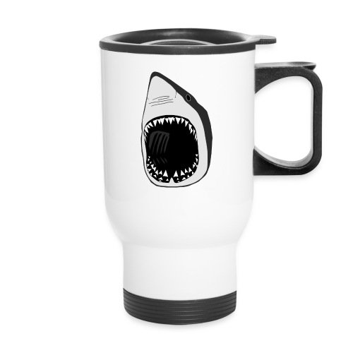 animal mug t-shirt white shark jaws fish fishing diver scuba diving sharks - Travel Mug