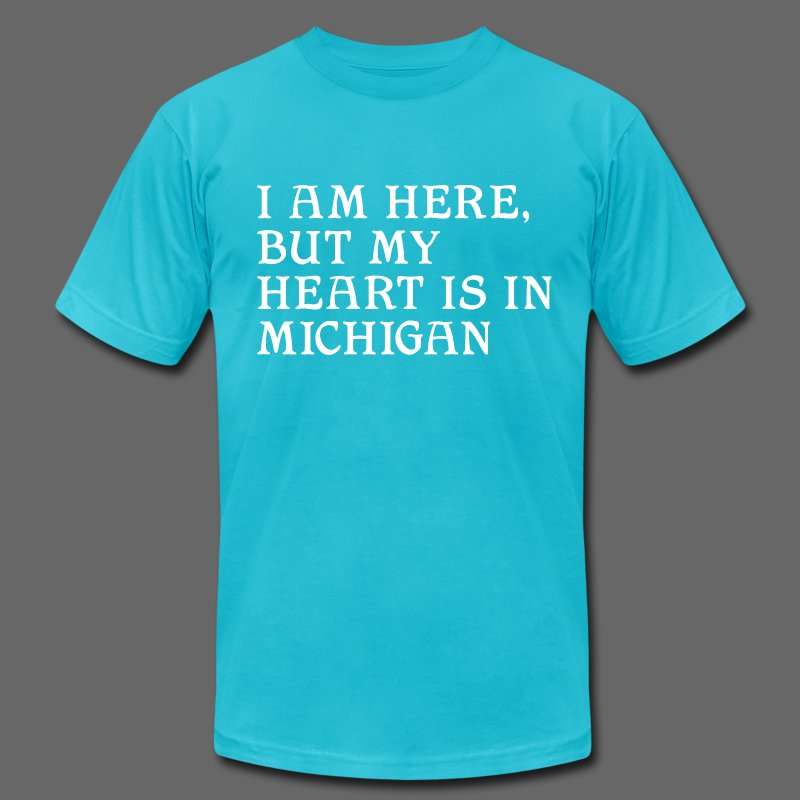 Heart is in Michigan - Men's T-Shirt by American Apparel
