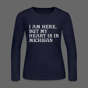 Heart is in Michigan - Women's Long Sleeve Jersey T-Shirt