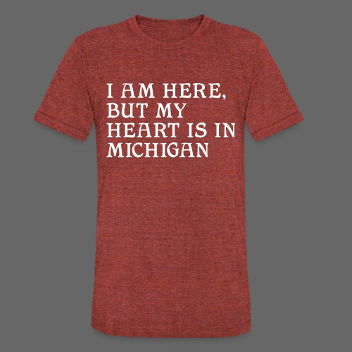 Heart is in Michigan - Unisex Tri-Blend T-Shirt by American Apparel