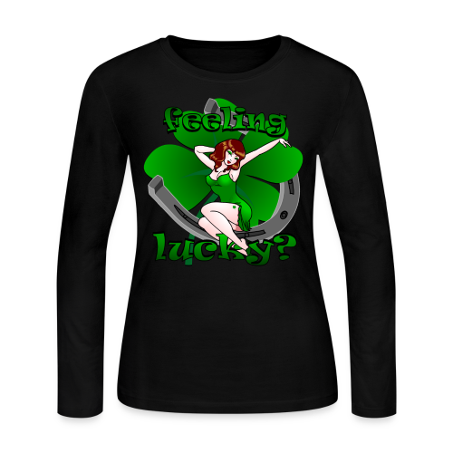 St. Patrick's Shirt Lucky Irish Pinup 50's Girl Tee - Women's Long Sleeve Jersey T-Shirt