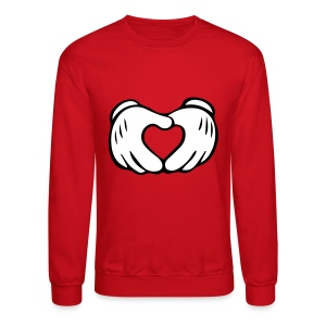 Men's Mickey Mouse Hand Heart Crewneck Sweatshirt - Crewneck Sweatshirt