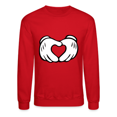 Men's Mickey Mouse Hand Heart Crewneck Sweatshirt