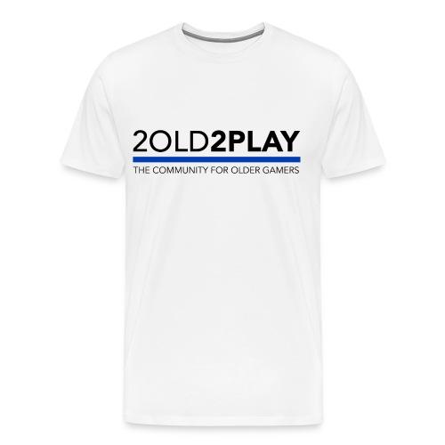 Men's White 2o2p Tee with Name & Controller NewLogo Blue - Men's Premium T-Shirt