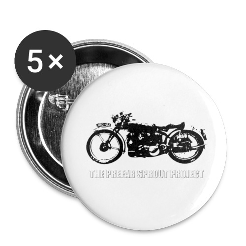 TPSP White Motorcycle - Buttons small 1'' (5-pack)