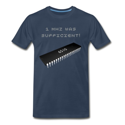 1 MHz Was Sufficient! - Vintage C64 Chip 6510 Microprocessor T-Shirt - Men's Premium T-Shirt