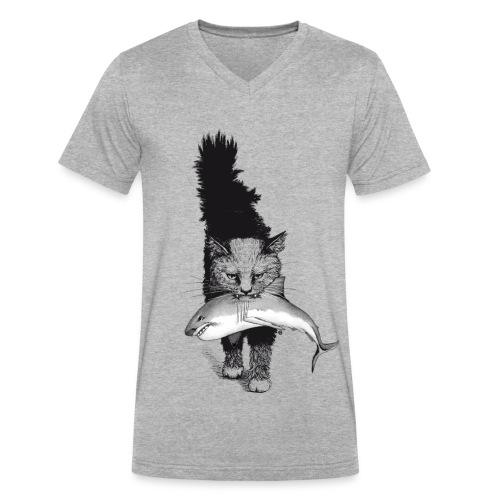 Shark Cat - Men's V-Neck T-Shirt by Canvas