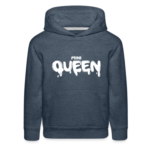 GIRLS 'DENIM' HOODIE WITH MINI QUEEN LOGO (ON THE FRONT) - Kids' Premium Hoodie