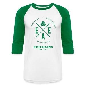 Unisex Baseball T-Shirt - New Logo EEA - Green Font - Baseball T-Shirt