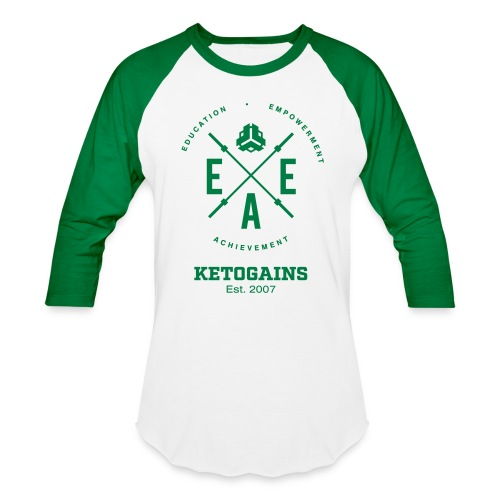 Unisex Baseball T-Shirt - New Logo EEA - Green Font - Baseball T-Shirt