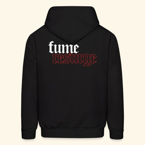 FuMe Hoodie With Back Text -White Badge Edition- (Brand Hanes) - Men's Hoodie