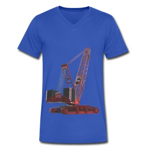 Crawler Crane 750t - Red - Men's V-Neck T-Shirt by Canvas