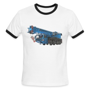 Mobile Crane 4-axle - Blue - Men's Ringer T-Shirt