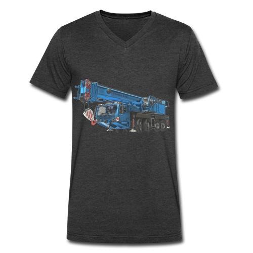 Mobile Crane 4-axle - Blue - Men's V-Neck T-Shirt by Canvas