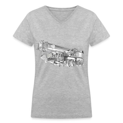 Mobile Crane 4-axle - Women's V-Neck T-Shirt