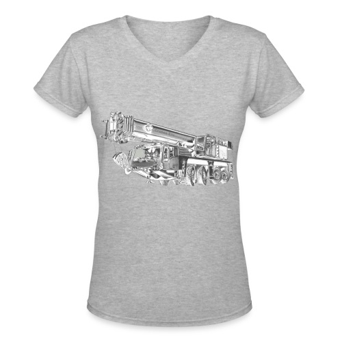 Mobile Crane 4-axle - Women's V-Neck T-Shirt