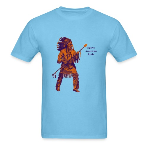 Native American Indian Pride with Spear - Men's T-Shirt