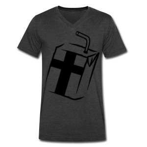 Men's V-Neck T-Shirt by Canvas - Tilted logo V-Neck.