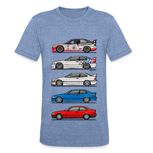 Stack of E36 coupes - Unisex Tri-Blend T-Shirt