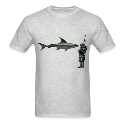 Vintage 19th Century Helmet Diver and Shark - Men's T-Shirt