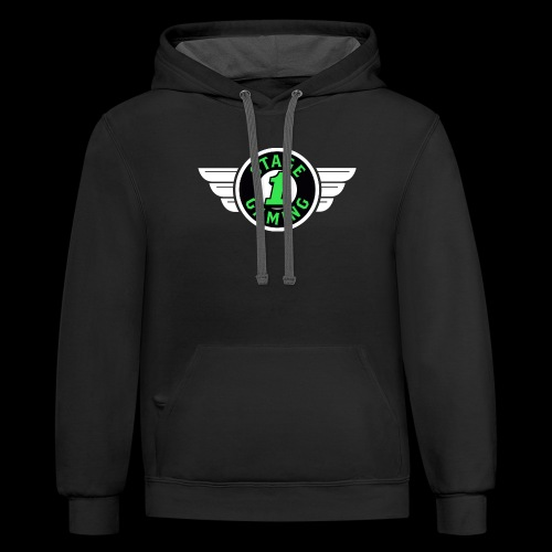 Authentic Stage 1 Gaming Hoodie - Black and Charcoal - Men's - Contrast Hoodie