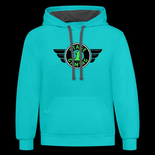 Authentic Stage 1 Gaming Hoodie - Teal and Charcoal - Men's - Contrast Hoodie