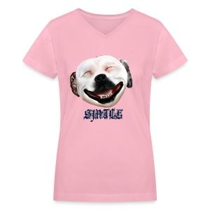 Pit Bull Smile-Brightest - Women's V-Neck T-Shirt