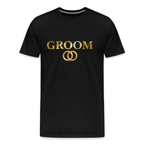 Groom Wedding Rings T-Shirt (Ancient Gold) - Men's Premium T-Shirt