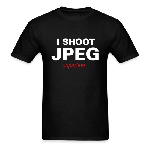 Men's T-Shirt - Show your pride with this sweet T.  I SHOOT JPEG is a fuzzy flock print while SUPERFINE is printed as a vinyl flex.