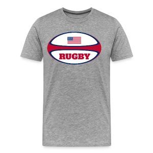 American Flag Rugby Ball T-Shirt - Men's Premium T-Shirt