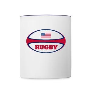 American Flag Rugby Ball Mug - Contrast Coffee Mug