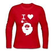 Long Sleeve Shirts ~ Women's Long Sleeve Jersey T-Shirt ~ I LOVE SANTA CLAUS - Women's Long-Sleeve