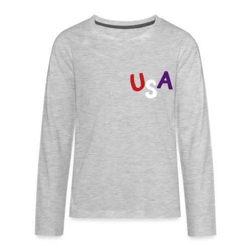 USA Sweatshirt (Velvet Print) - Kids' Premium Long Sleeve T-Shirt