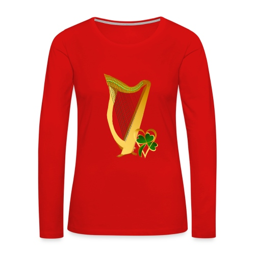 Celtic Irish gold Harp - Women's Premium Long Sleeve T-Shirt