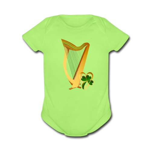Celtic Irish gold Harp - Organic Short Sleeve Baby Bodysuit