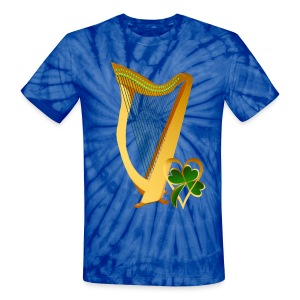 Celtic Irish gold Harp - Unisex Tie Dye T-Shirt
